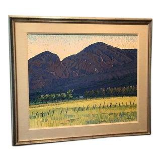 "Acrylic Landscape Original ""Sacred Mountains"" - William Cather Hook, 1980's Colorado Artist"