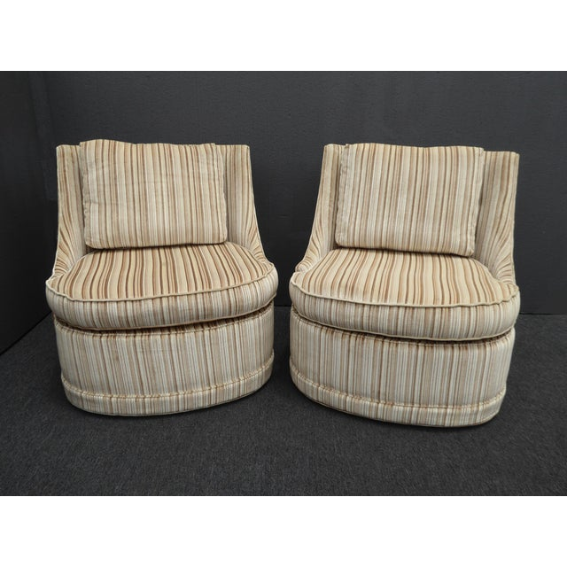 Vintage Mid Century Modern Milo Baughman Style Tan Swivel Chairs Stripped Velvet Gorgeous Chairs in Great Vintage...