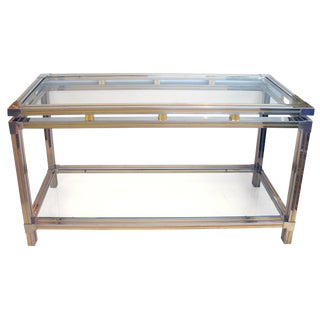 A Good Quality French Chrome and Brass Console Table With Glass Top and Lower Shelf Designed by Guy Lefevre for Maison Jansen, Paris For Sale