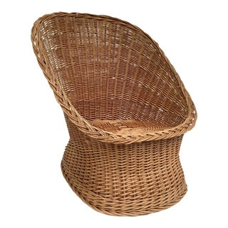 Late 20th Century Vintage Natural Wicker Rattan Lounge Chair For Sale