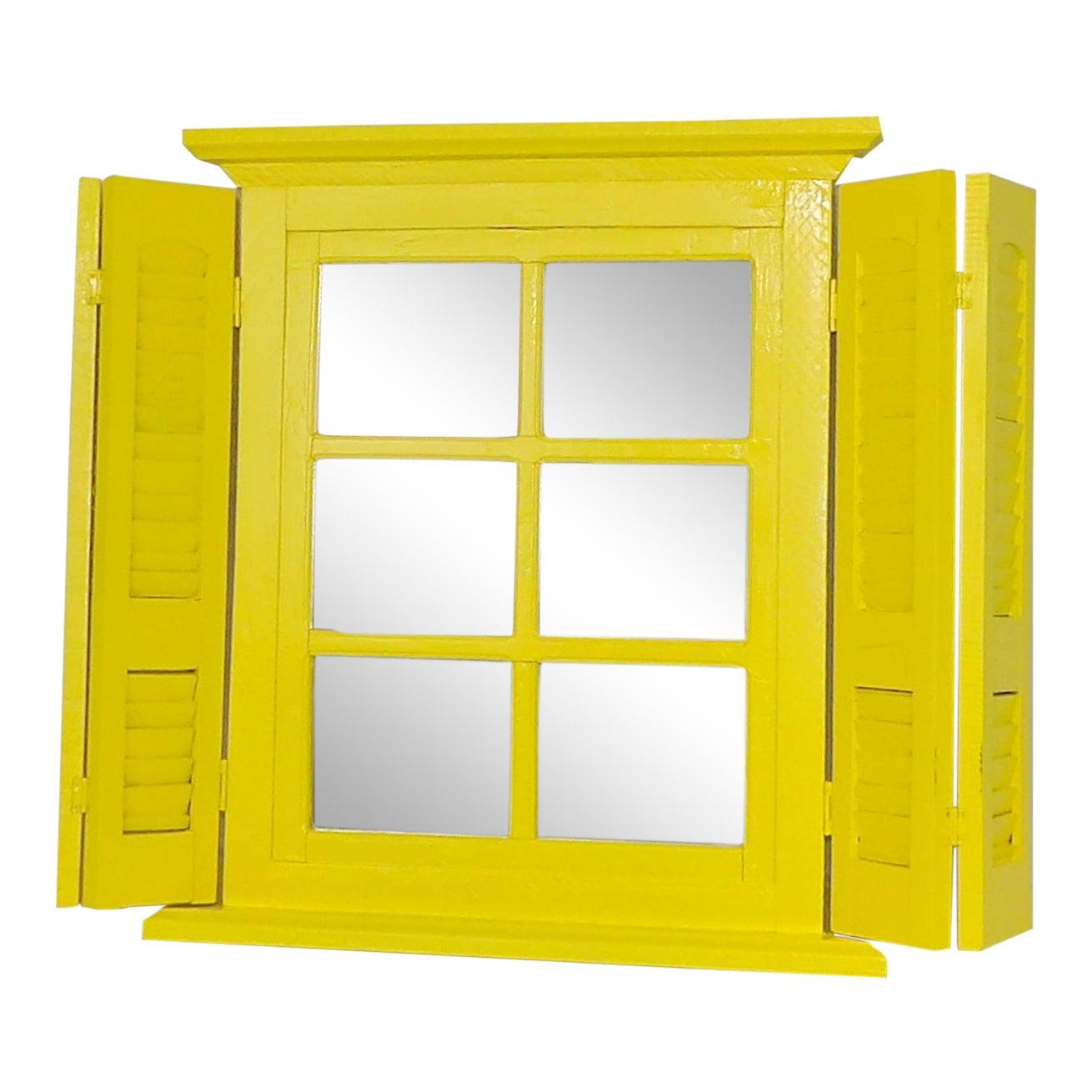 Yellow Window Pane Wall Mirror   Chairish