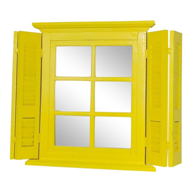 Yellow Window Pane Wall Mirror - Image 1 of 9