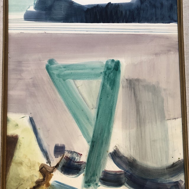 Abstract Vintage Original Abstract Mid Century Landscape Painting For Sale - Image 3 of 5