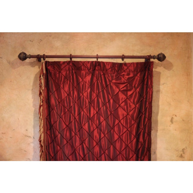 Victorian Style Drapes in Burgundy - A Pair - Image 9 of 10