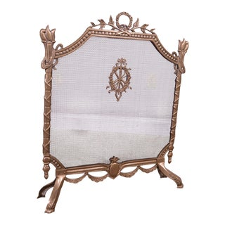 French Louis XVI Style Brass Fireplace Screen For Sale