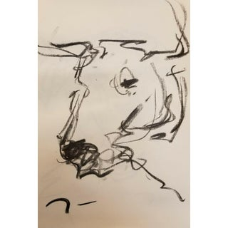 Jose Trujillo Original Charcoal Paper Sketch Drawing Cow Study Minimalist For Sale