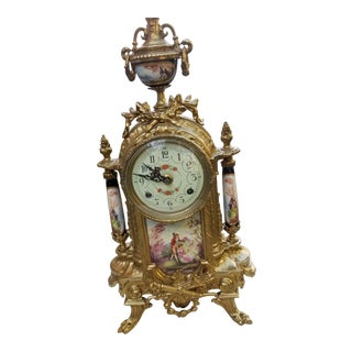 Vintage Italian Lancini Fhs Hermle Brass Porcelain Ormolu Clock For Sale
