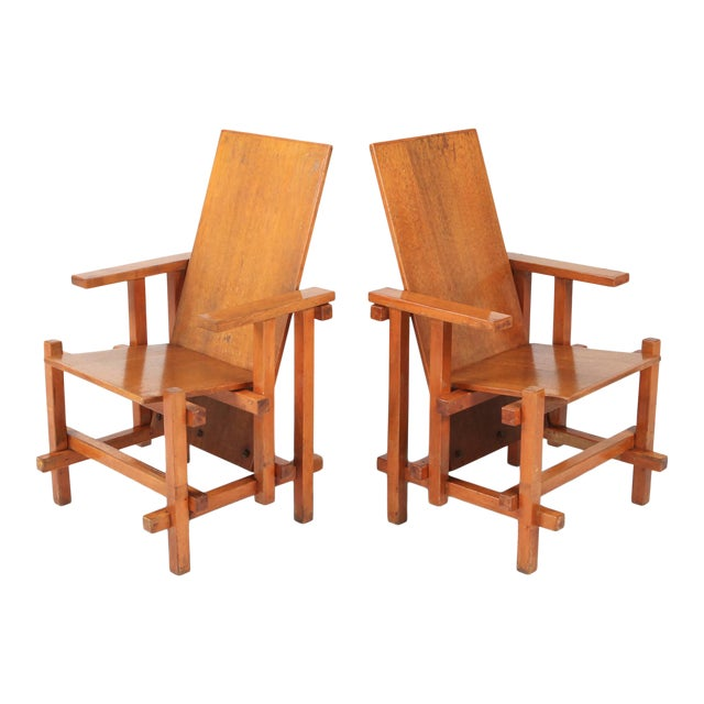 Modernist Armchairs Attributed to Gerrit Rietveld For Sale
