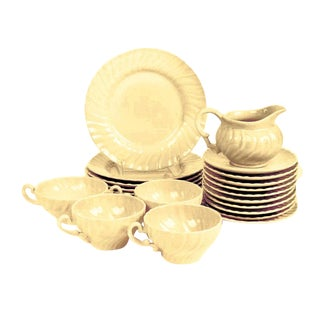 1940's Vintage Buttery Cream Franciscan Table Ware GMcB Signed Coronado Collection - Set of 21 For Sale