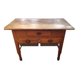 Vintage Traditional Oak Kitchen Work Table For Sale