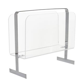Lucite Chrome Magazine Rack Attributed to Milo Baughman