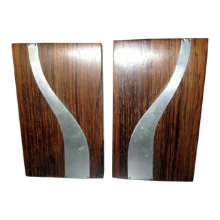 Mid-Century Modern Rosewood and Chrome Bookends - a Pair For Sale