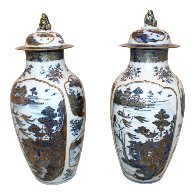 18th Century Chinese Qing Dynasty Covered Jars - a Pair For Sale