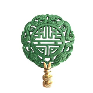 Green Chinoiserie Lamp Finial Chinese Calligraphy and Birds For Sale