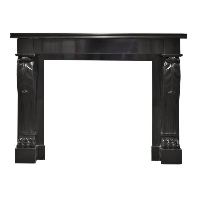 Napoleon III Fireplace Mantel Executed in Black Marble, 19th Century For Sale