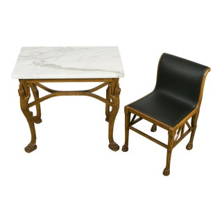Wood Table and Chair in the Pompeian Style, Italy, circa 1920 For Sale