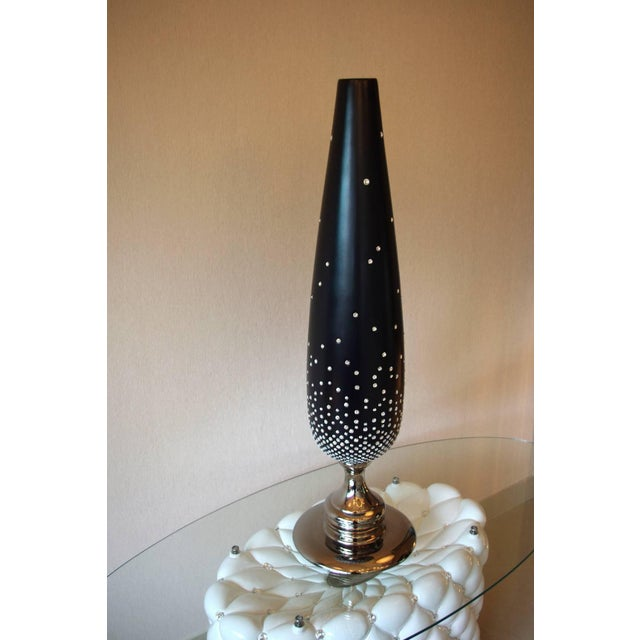 Italian Black Cone Vase With Swarovski Crystals For Sale - Image 3 of 4