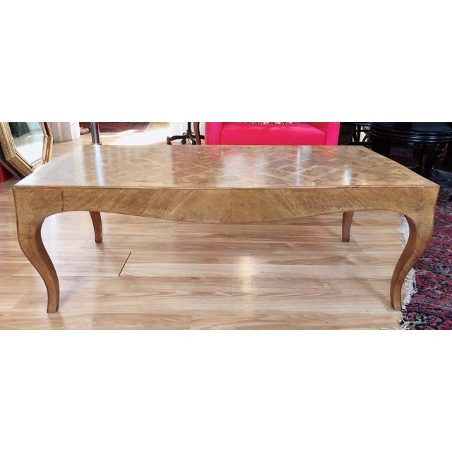 Wood Lovely Marquetry Wooden Inlay Coffee Table For Sale - Image 7 of 10