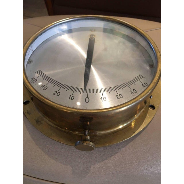 Italian Italian Midcentury Brass Ship's Clinometer For Sale - Image 3 of 7