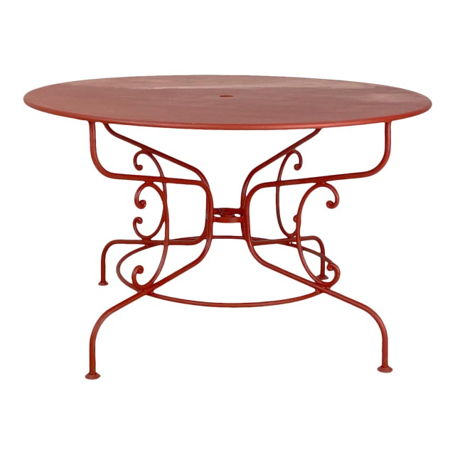Large Mid-Century Vintage French Red Garden Table For Sale