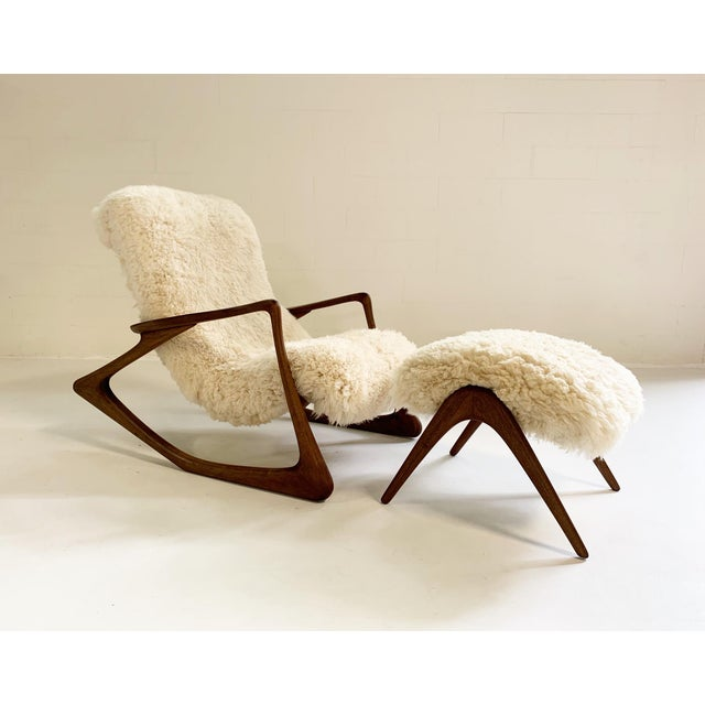 1960s Vladimir Kagan Sculpted Rocking Chair and Ottoman in California Sheepskin For Sale - Image 5 of 9