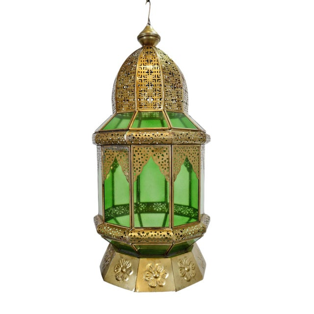 Moorish Brass & Green Glass Lantern For Sale In Los Angeles - Image 6 of 6