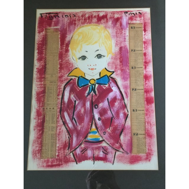 Metal 1960s Vintage Francois Paris Girl and Boy Portraits Mixed Media Paintings - A Pair For Sale - Image 7 of 13