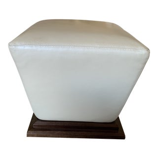 Thayer Coggin Ivory Leather Ottoman For Sale