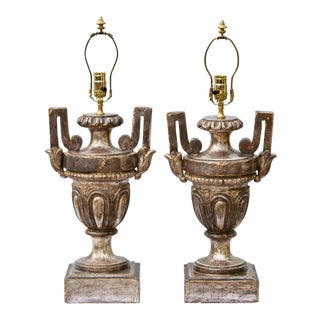19th Century Silver Gilt Urn Form Lamps, Pair
