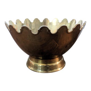 Hollywood Regency Brass Scalloped Cachepot Pedestal Bowl For Sale