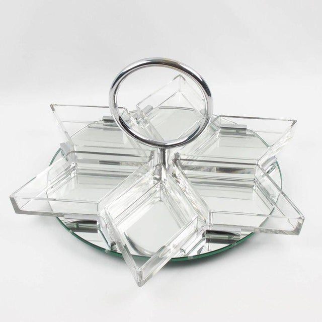 Art Deco French Art Deco Cocktail Set Barware Mirror Serving Tray and Dishes For Sale - Image 3 of 10