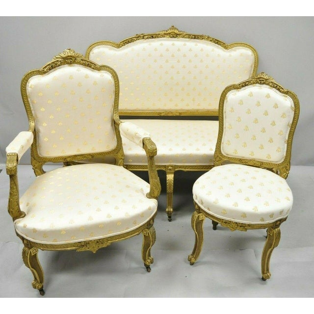 19th Century French Louis XV Style Gold Gilt Wood Parlor Salon Suite - 3 Pieces For Sale - Image 12 of 13