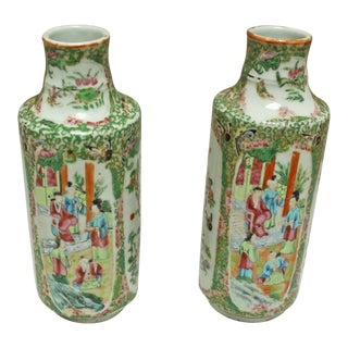 Asian Style Rose Medallion Vases - a Pair For Sale