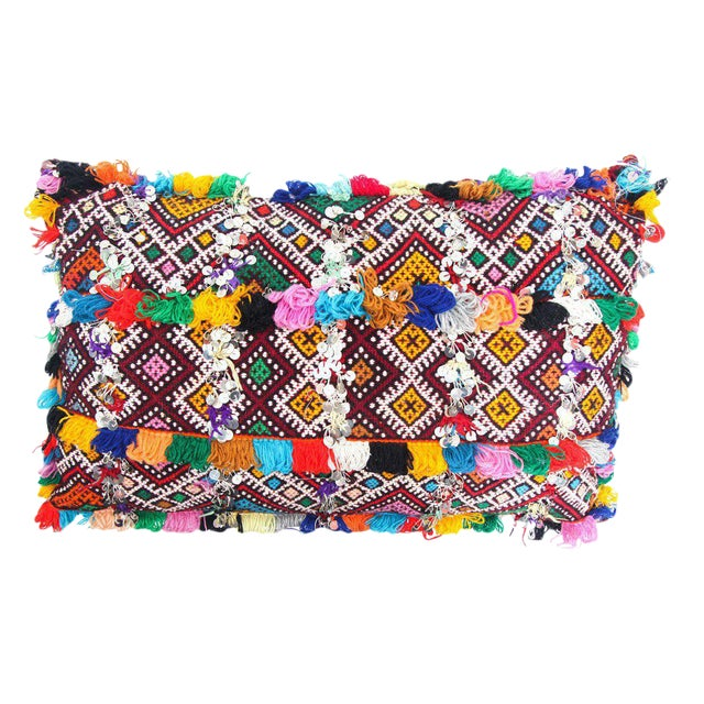 Handmade Moroccan Multicolored Kilim Style Pillow For Sale