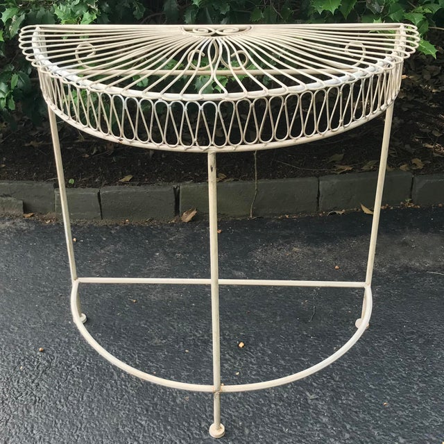 Vintage Wrought Iron Demi Lune Table With Original Paint For Sale - Image 11 of 11