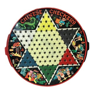 Vintage Chinese Checkers Metal Board For Sale