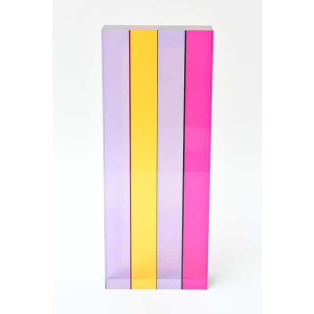 This amazing signed and dated Vasa Mihich laminated lucite tower sculpture has jewel tone colors that are brilliant. It is...