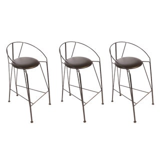 Set of Three Vintage Italian Bar Stools For Sale