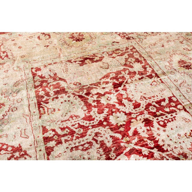 Traditional Traditional Hand Knotted Red and Beige Oushak For Sale - Image 3 of 8