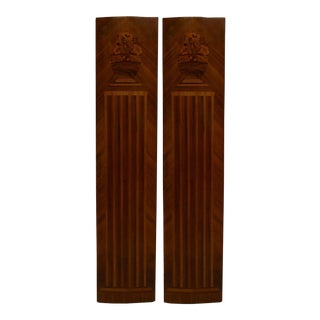 Pair Of French Art Deco Kingwood Veneered Pilaster Panels For Sale
