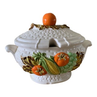Vintage Cottage Style Ceramic Soup Tureen For Sale