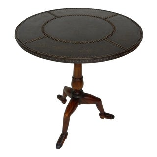 Theodore Alexander With Bronze Top and Mahogany Shoe Feet Accent Table For Sale