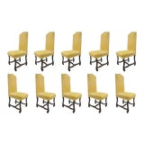 Image of Early 20th Century Walnut Os De Mouton Louis XIV French Style Upholstered Dining Chairs- Set of 10 For Sale