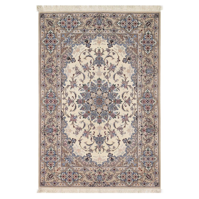 """Persian Pasargad Ivory Isfahan Silk Wool Rug - 3'7"""" X 5'3"""" For Sale - Image 4 of 4"""