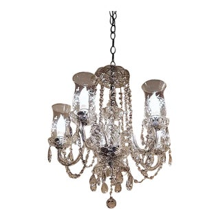 Etched Hurricane Shade Crystal 5 Arm Chandelier For Sale