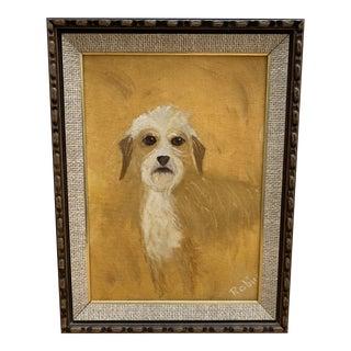 Primitive Vintage Dog Painting, Circa 1974 For Sale