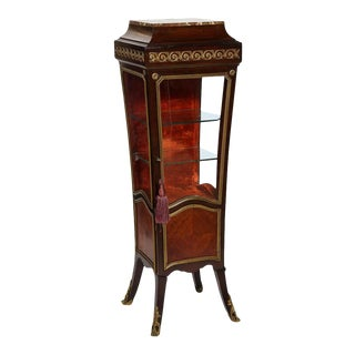 1880 French Louis XV Style Gilt Mounted Kingwood Pedestal Vitrine Cabinet For Sale