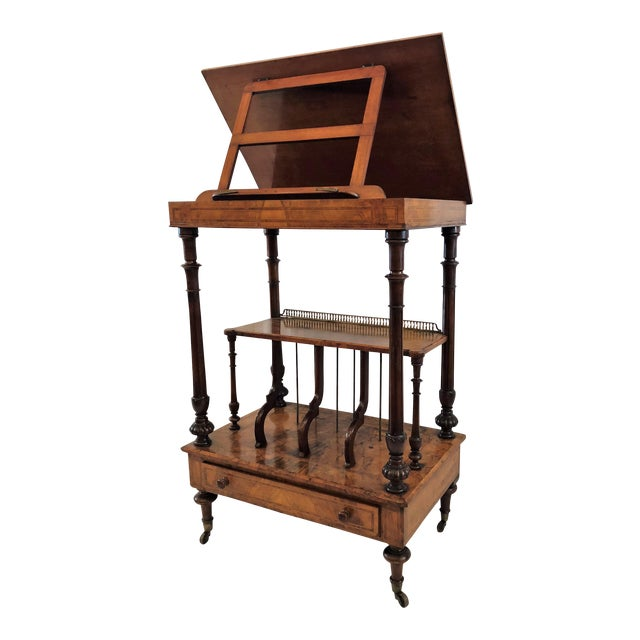 Antique English Walnut Canterbury and Music Stand, Circa 1870-1880. For Sale
