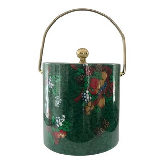 Vintage Christmas Decorated Vintage Ice Bucket For Sale