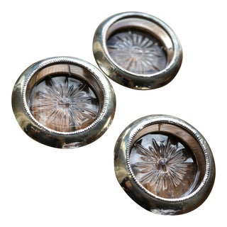 Antique Sterling Silver Crystal Coasters - Set of 3